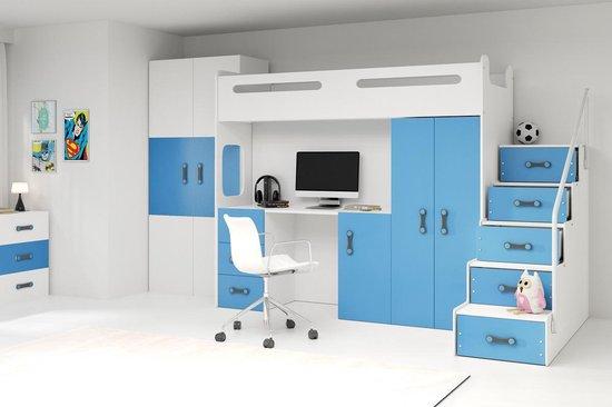 Hoogslaper met bureau en kast - blauw 3